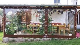 Windschutz Terrasse selber bauen braun