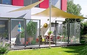 Windschutz Terrassee Glas beweglich abweiser