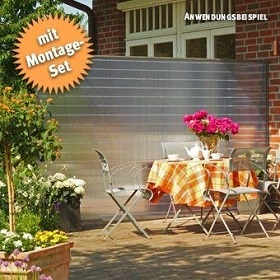 Windschutz Terrassee Glas beweglich schutz