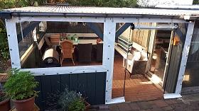 Windschutz Terrasse selber bauen Plexi